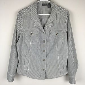 CHICO'S ADDITIONS UNLINED STRIPED JACKET